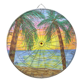 Relaxing Tropical Beach Palm Trees Dartboards
