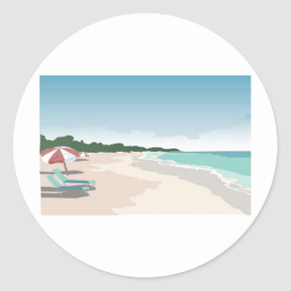 Relaxing Tropical Beach Scene Classic Round Sticker