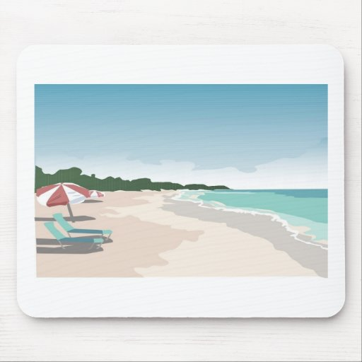 Relaxing Tropical Beach Scene Mouse Pad