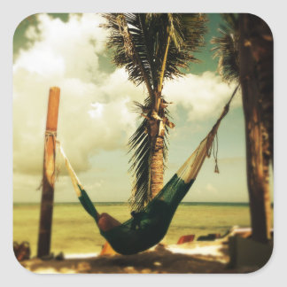 Relaxing tropical hammock nap square sticker