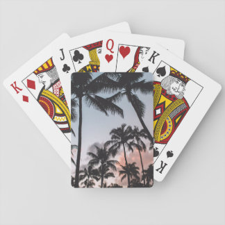 Relaxing Tropical Palm Trees Sunset Beach Playing Cards