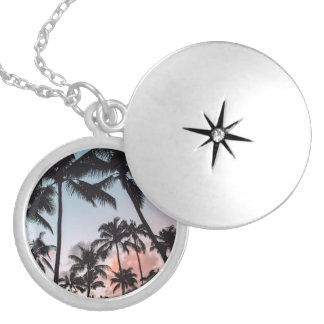 Relaxing Tropical Palm Trees Sunset Beach Round Locket Necklace