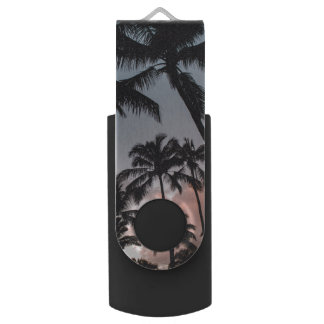 Relaxing Tropical Palm Trees Sunset Flash Drive