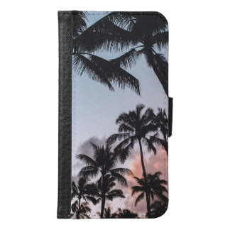 Relaxing Tropical Palm Trees Sunset Wallet Phone Case For Samsung Galaxy S6
