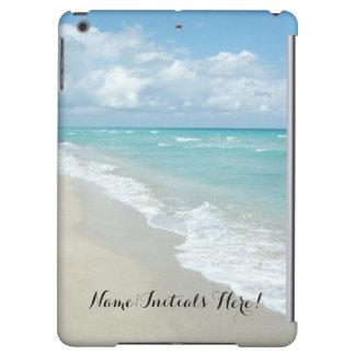 Relaxing Zen Beach View Personalized Ocean Blue iPad Air Covers