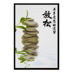 Relaxing Zen Stone with Chinese Characters Poster