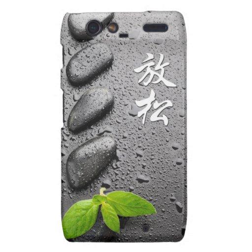 Relaxing Zen Stones with mint leaves Droid RAZR Case