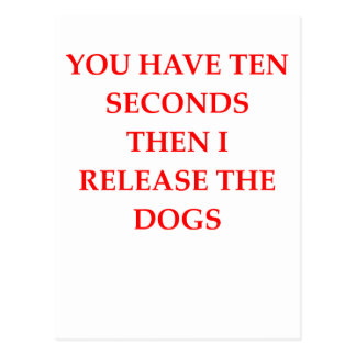 release the dogs postcard