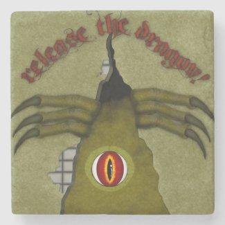 Release The Dragon! Digital Art Stone Coaster
