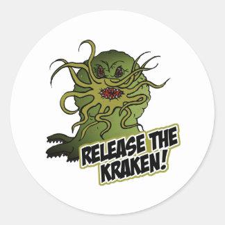 release the kraken classic round sticker