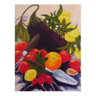 Relevo de las frutas y de las verduras tarjeta postal