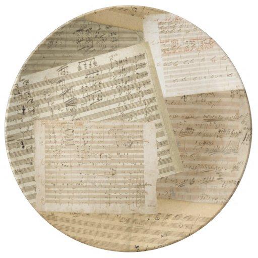 Relevo del manuscrito de la música de Beethoven Platos De Cerámica