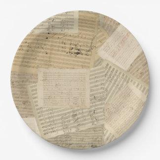 Relevo del manuscrito de la música de Beethoven Plato De Papel De 9 Pulgadas
