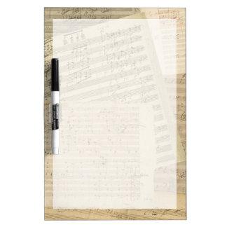 Relevo del manuscrito de la música de Beethoven Tableros Blancos