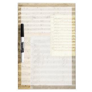 Relevo del manuscrito de la música de Mozart Tablero Blanco