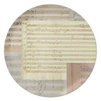 Relevo del manuscrito de Mozart Platos