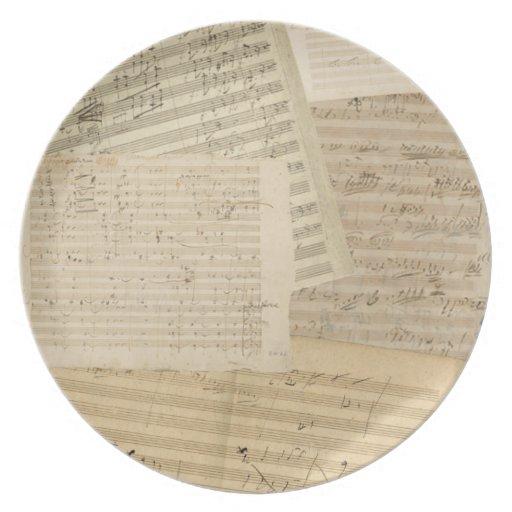 Relevo del manuscrito segundo de Beethoven Plato
