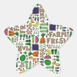 Relevo del mercado del granjero calcomania forma de estrella personalizada