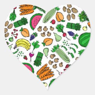 Relevo del mercado del granjero calcomanías de corazones personalizadas
