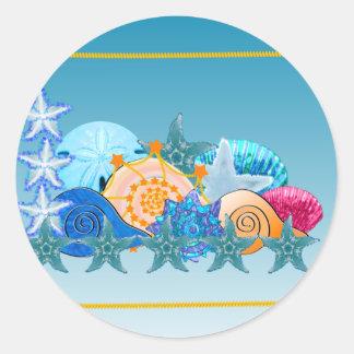 Relevo del Seashell Etiqueta Redonda
