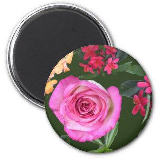 Relevo floral del mini arte imán redondo 5 cm