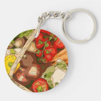 Relevo hermoso de frutas y verduras orgánicas llavero redondo acrílico a doble cara
