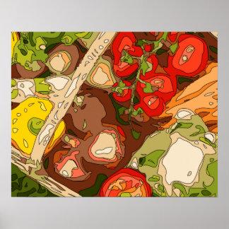 Relevo hermoso de frutas y verduras orgánicas poster