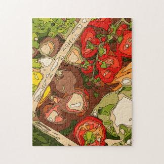 Relevo hermoso de frutas y verduras orgánicas puzzle