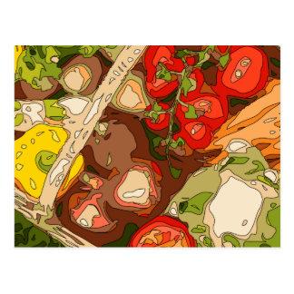 Relevo hermoso de frutas y verduras orgánicas postal