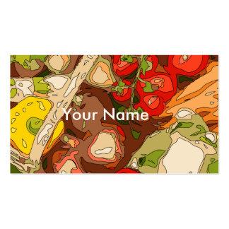 Relevo hermoso de frutas y verduras orgánicas tarjetas de visita
