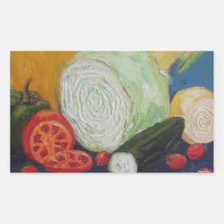 Relevo vegetal pegatina rectangular