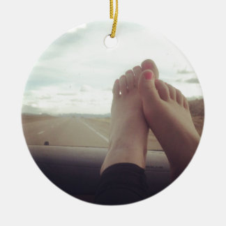 relex feet on the dashboard christmas ornament