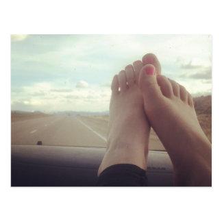 relex feet on the dashboard postcard