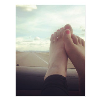 relex feet on the dashboard postcard