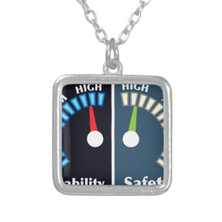 Reliability and Safety Gauges Silver Plated Necklace