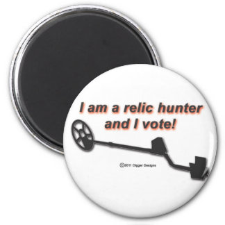 Relic Hunter and I Vote 2 Inch Round Magnet