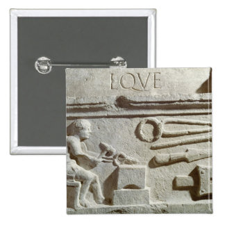 Relief depicting a blacksmith's shop and tools pin