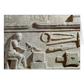 Relief depicting a blacksmith's shop and tools greeting card