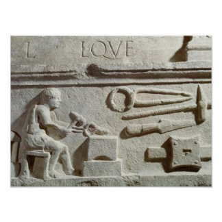 Relief depicting a blacksmith's shop and tools poster
