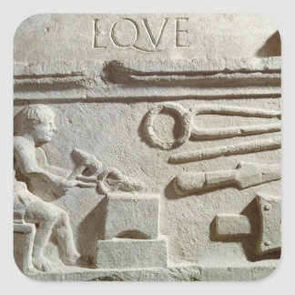 Relief depicting a blacksmith's shop and tools sticker