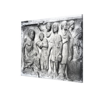 Relief depicting a boy reading to his teacher gallery wrap canvas