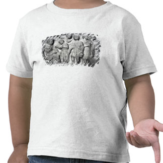 Relief depicting a boy reading to his teacher t-shirts