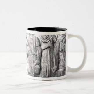 Relief depicting a boy reading to his teacher Two-Tone coffee mug
