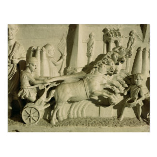 Relief depicting a chariot race postcard