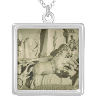 Relief depicting a chariot race silver plated necklace