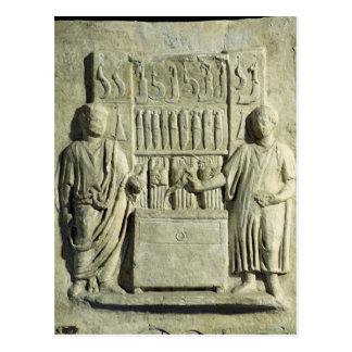 Relief depicting a cutlery shop postcard