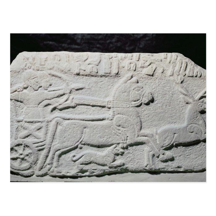 Relief depicting a deer hunt postcard