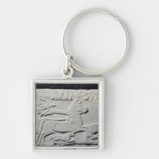Relief depicting a deer hunt Silver-Colored square keychain