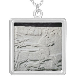 Relief depicting a deer hunt silver plated necklace