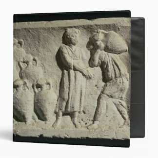 Relief depicting a delivery of wine 3 ring binder